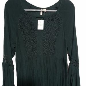 Cato Teal long dress Size J/M Fan sleeve